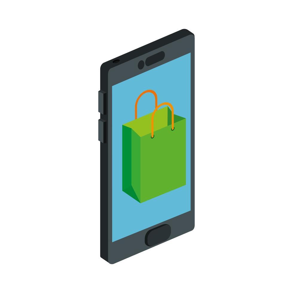 shopping bag con icona isolato smartphone vettore