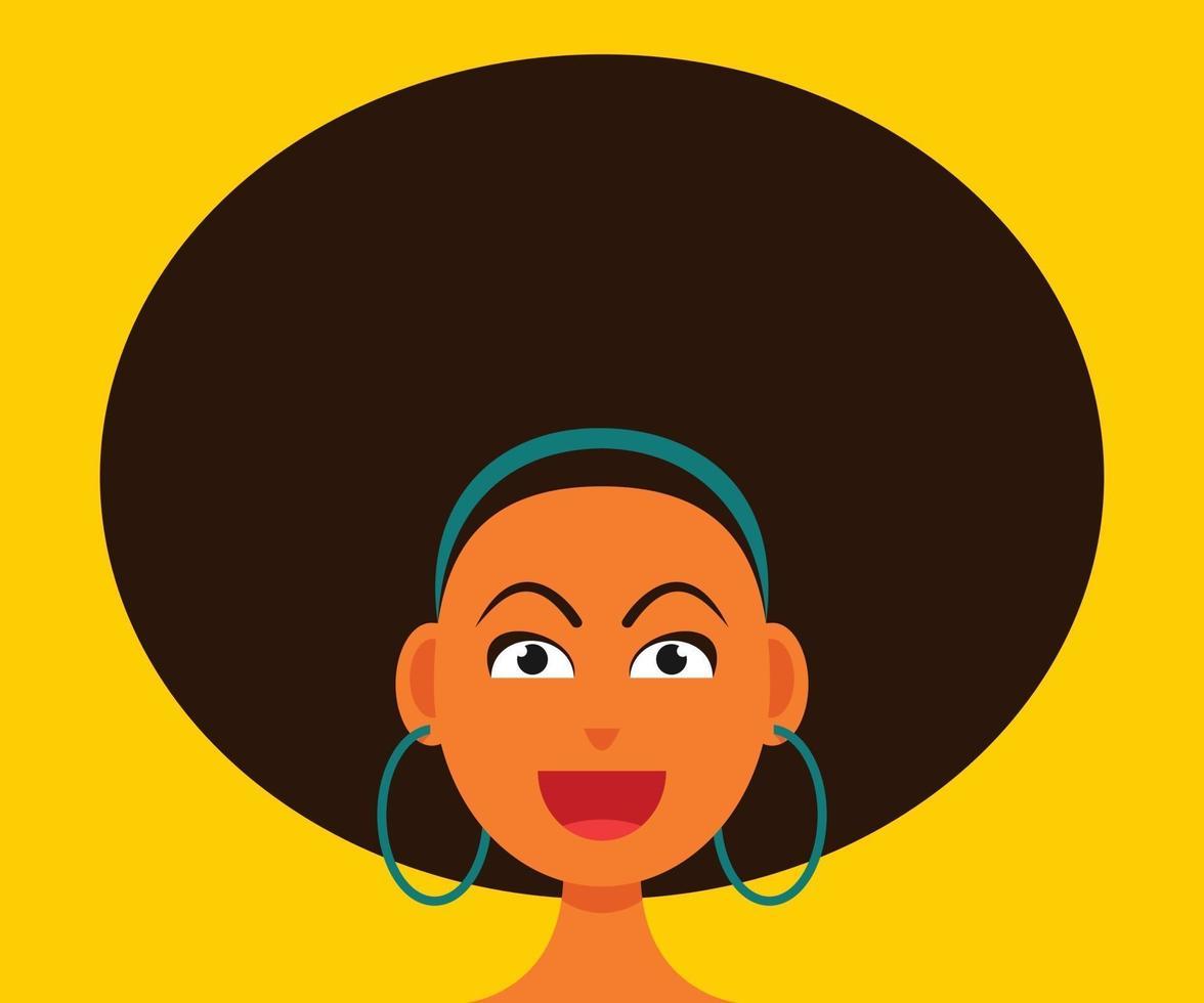 donna sorridente viso con stile di capelli afro. vettore