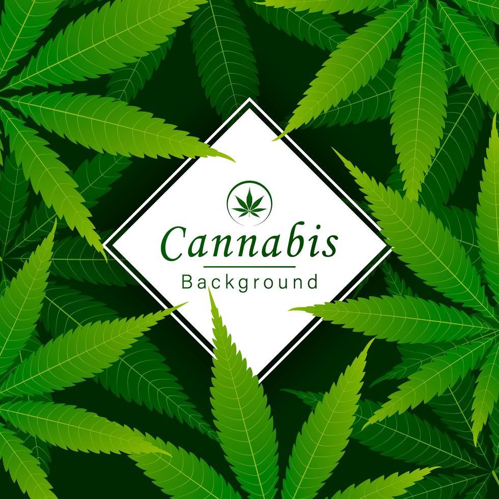 sfondo verde foglia di cannabis vettore