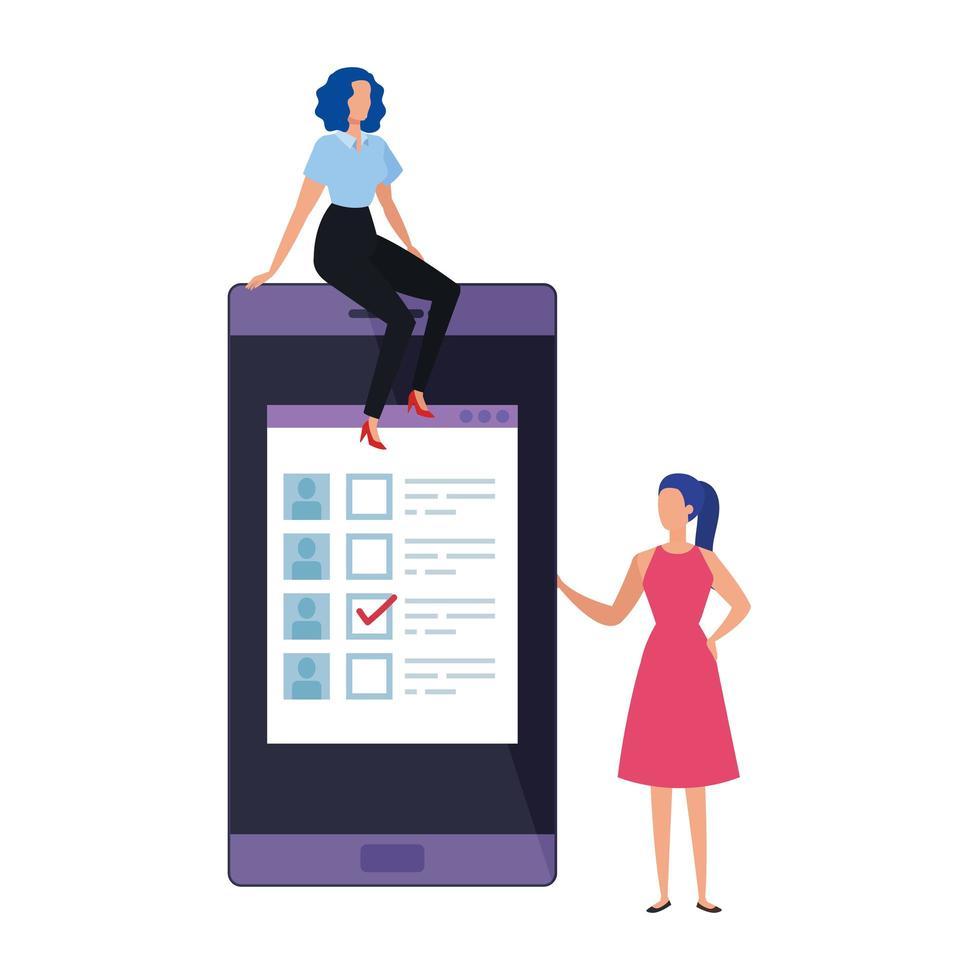 donne d'affari con lo smartphone per votare online vettore