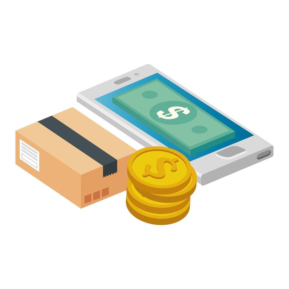 smartphone con monete in pila e pacchetto scatola vettore