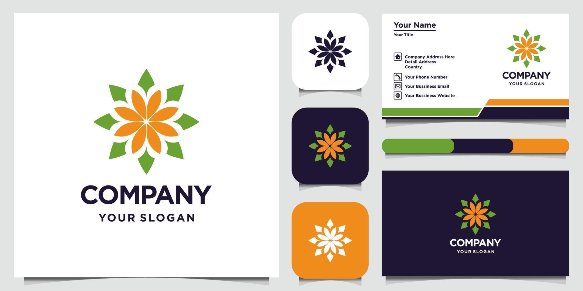 disegno del logo fiore astratto con logo in stile arte linea e biglietto da visita vettore