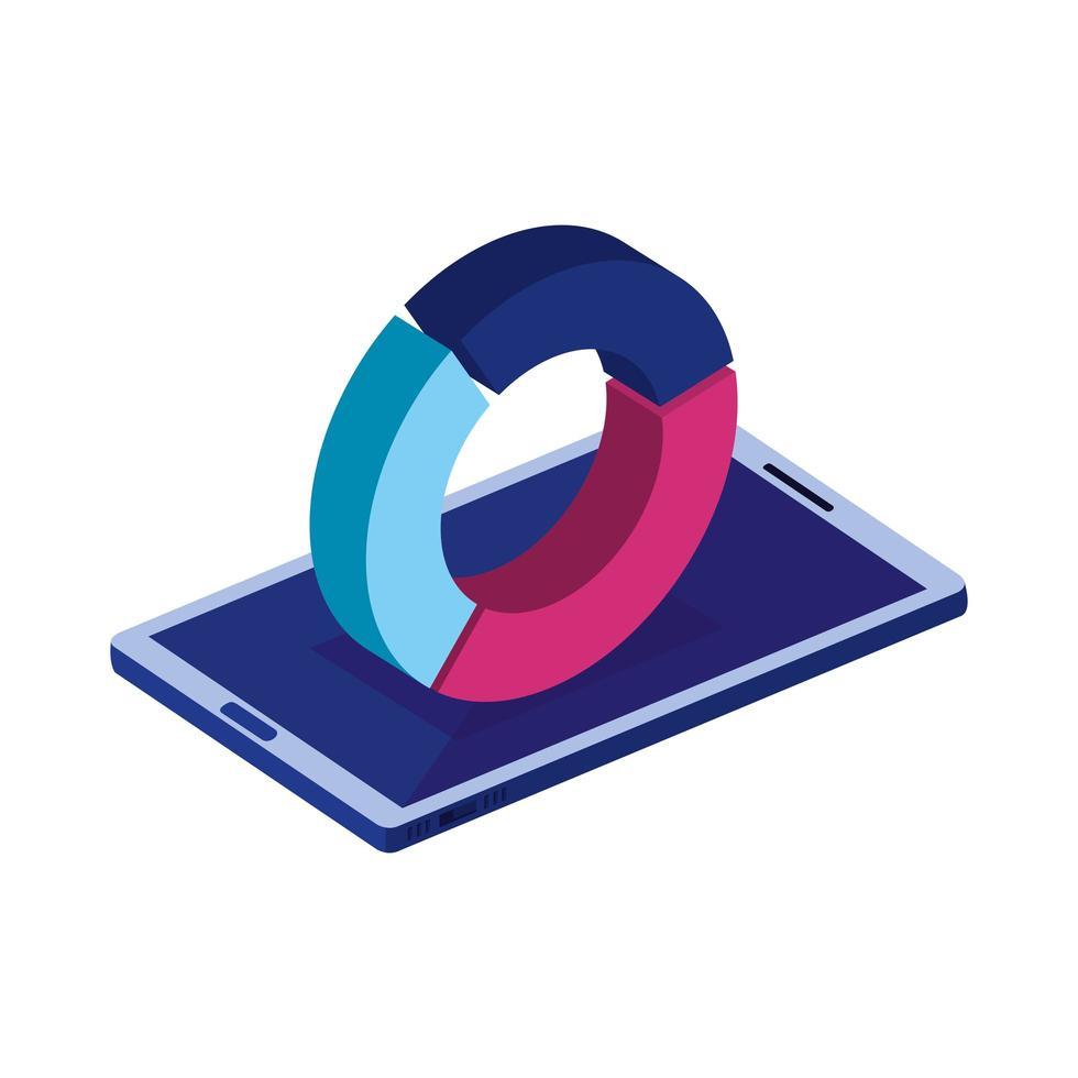 dispositivo smartphone con icona isolata infografica vettore
