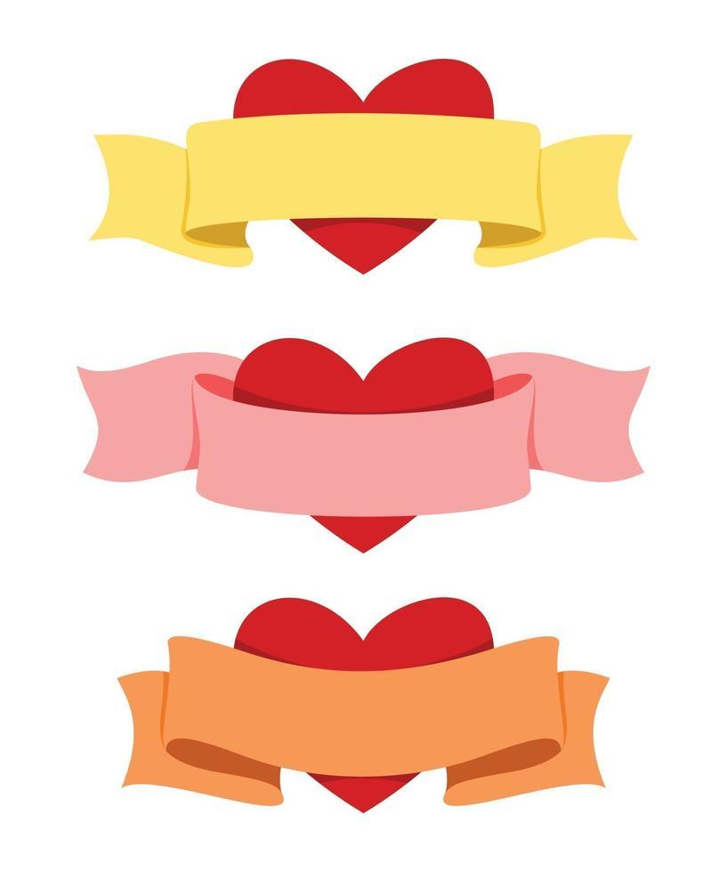 tre stili di nastro con il cuore per la decorazione di San Valentino. vettore