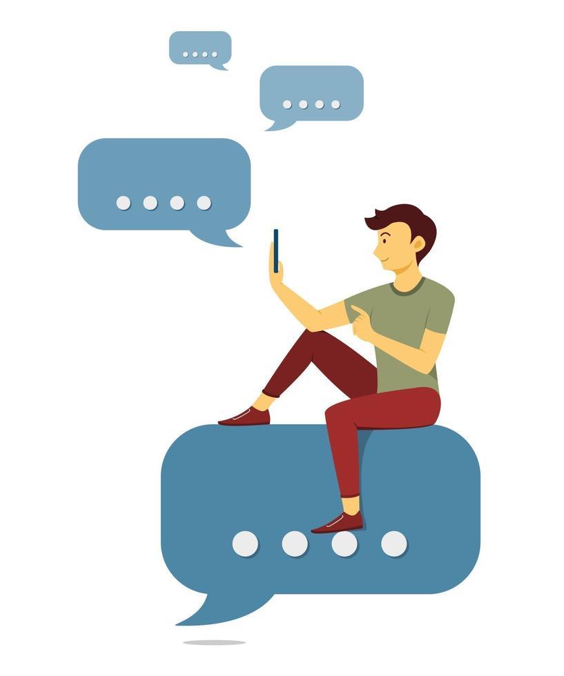 l'uomo è seduto sull'icona della bolla di chat e chattare con il telefono cellulare. vettore