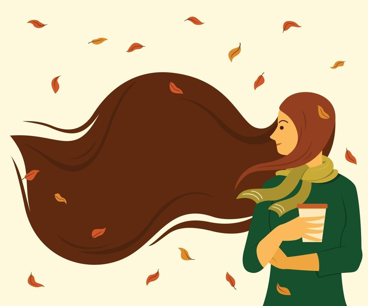la donna con i capelli lunghi è all'aperto per la stagione della carta da parati autunnale. vettore