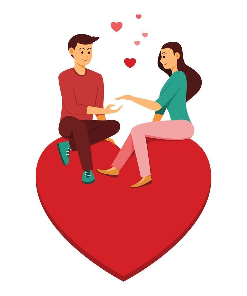 l'uomo e la donna dell'amante si siedono sul grande cuore. vettore