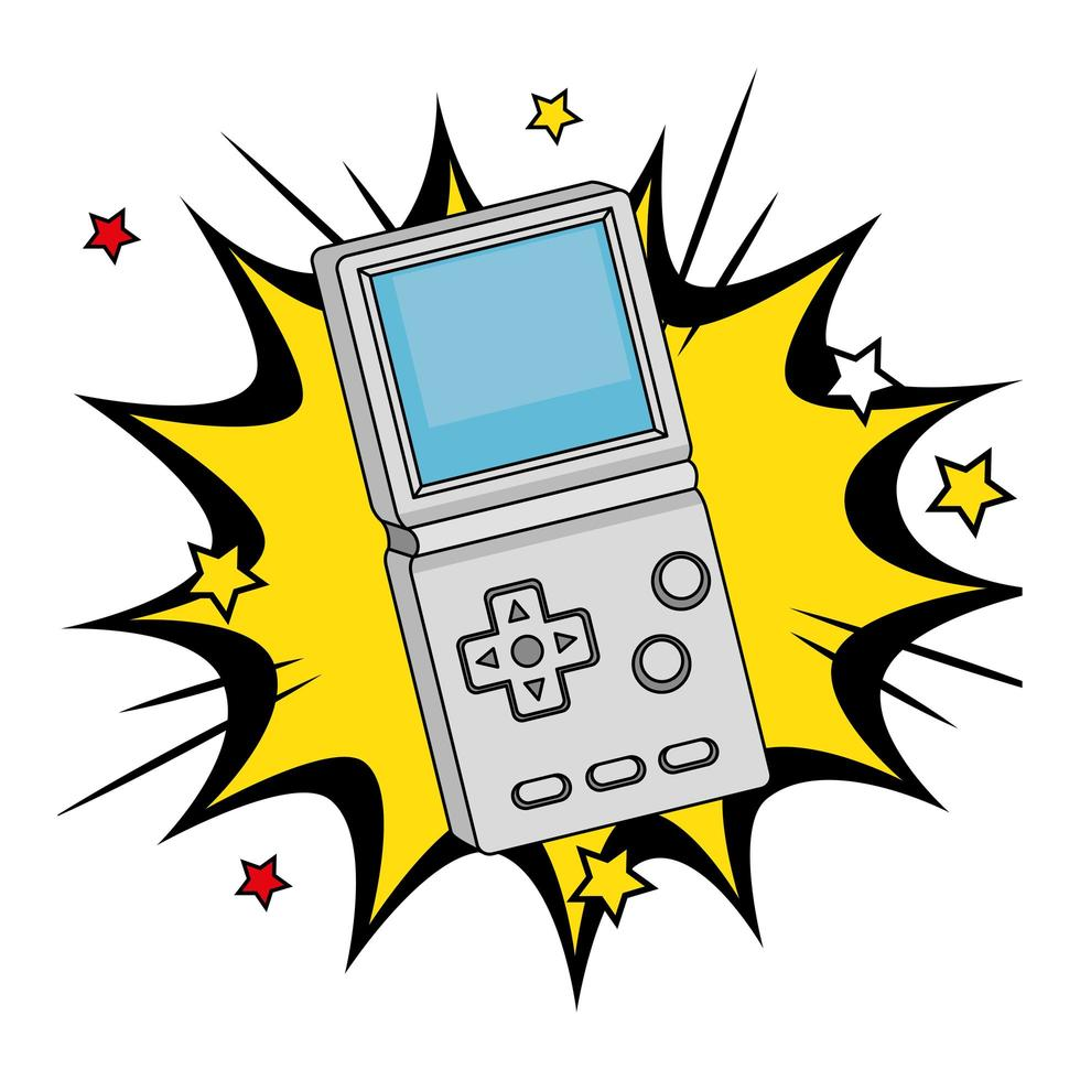 maniglia di videogioco degli anni novanta in esplosione pop art vettore