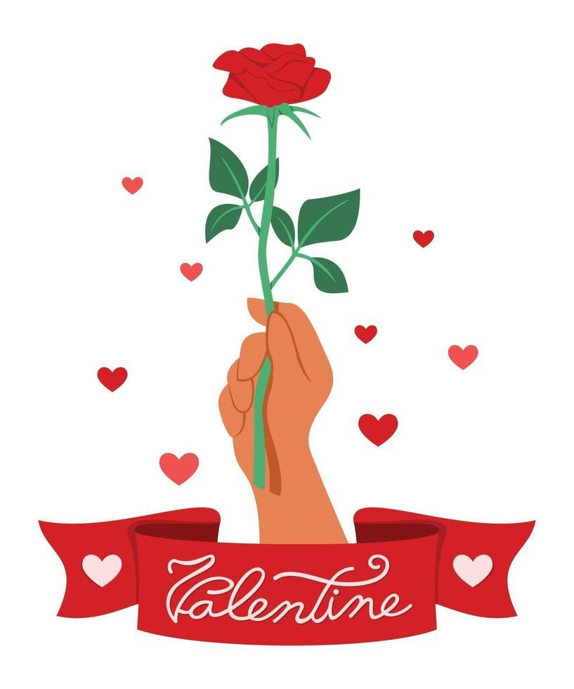 mano tiene una rosa rossa con un nastro che dice San Valentino. vettore
