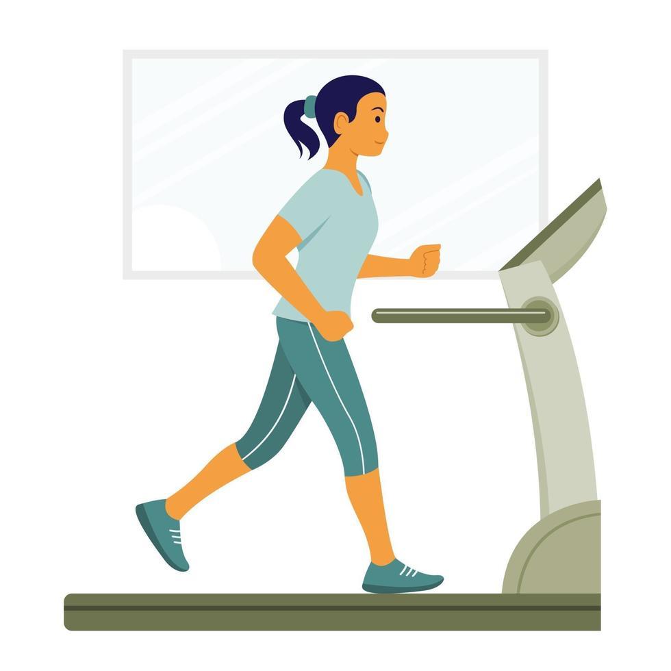 donna allenamento correndo sulla macchina tapis roulant. vettore