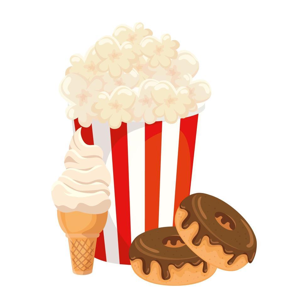 deliziosi popcorn nel contenitore con ciambella e gelato icona isolata vettore