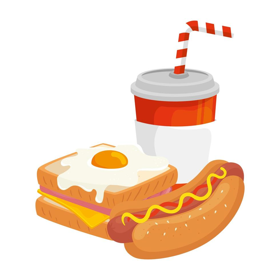 delizioso panino con hot dog e bevanda icona isolata vettore