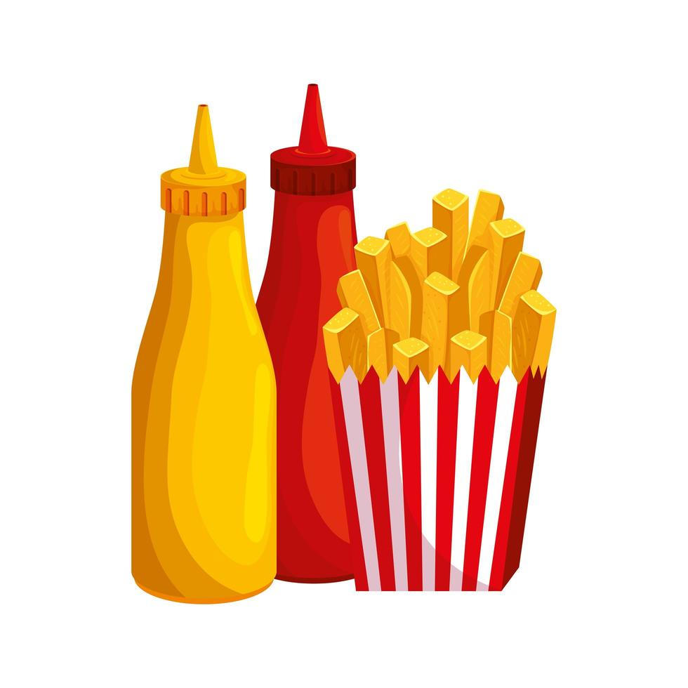 deliziose patatine fritte con salse bottiglie icona di fast food vettore