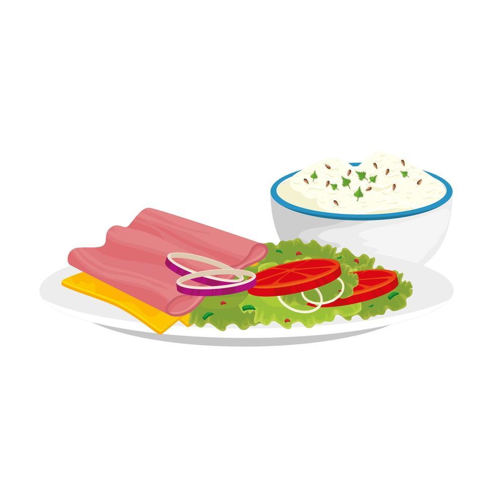 deliziosa fetta di prosciutto con piatto cibo delizioso icona isolato vettore