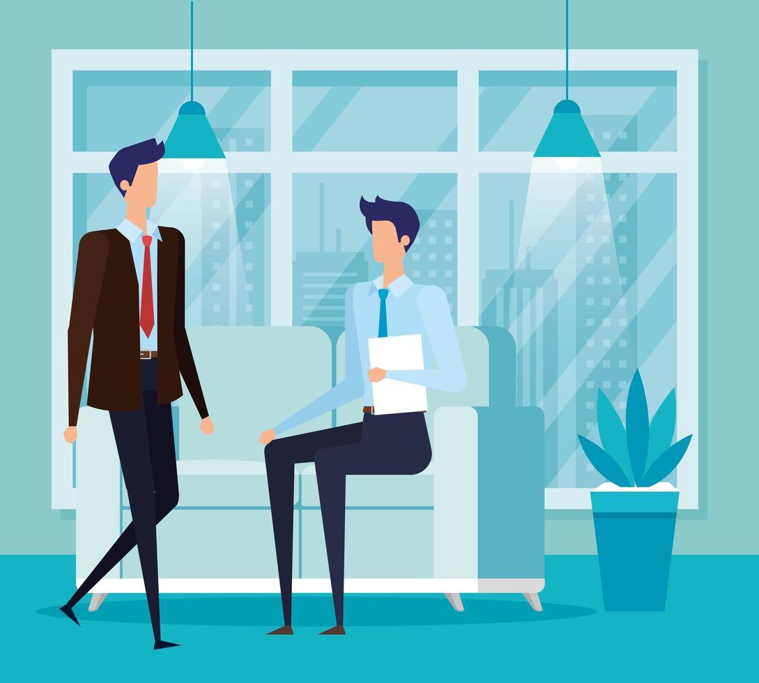 eleganti uomini d'affari lavoratori in soggiorno vettore