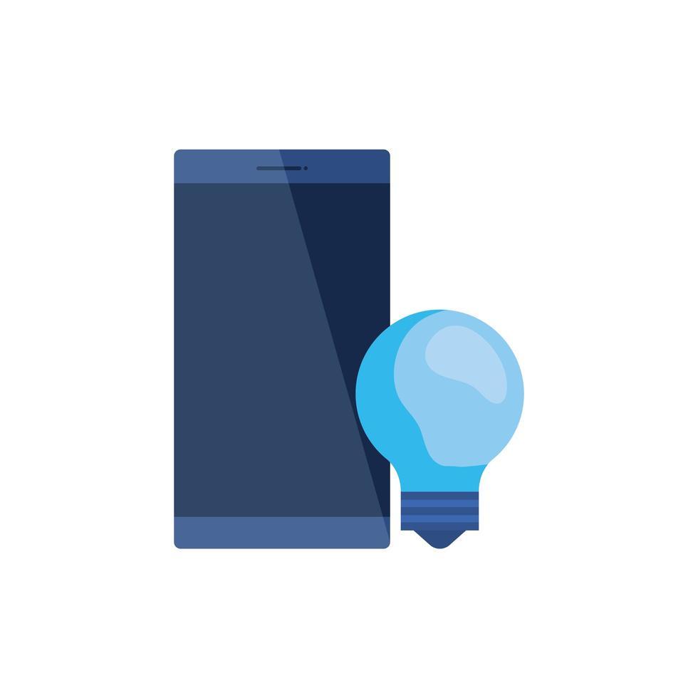 dispositivo smartphone con lampadina vettore