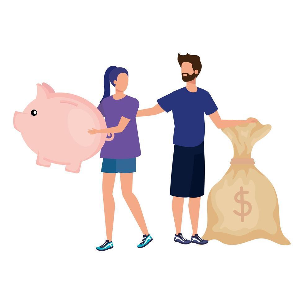 giovane coppia con personaggi piggy e sacco di soldi vettore