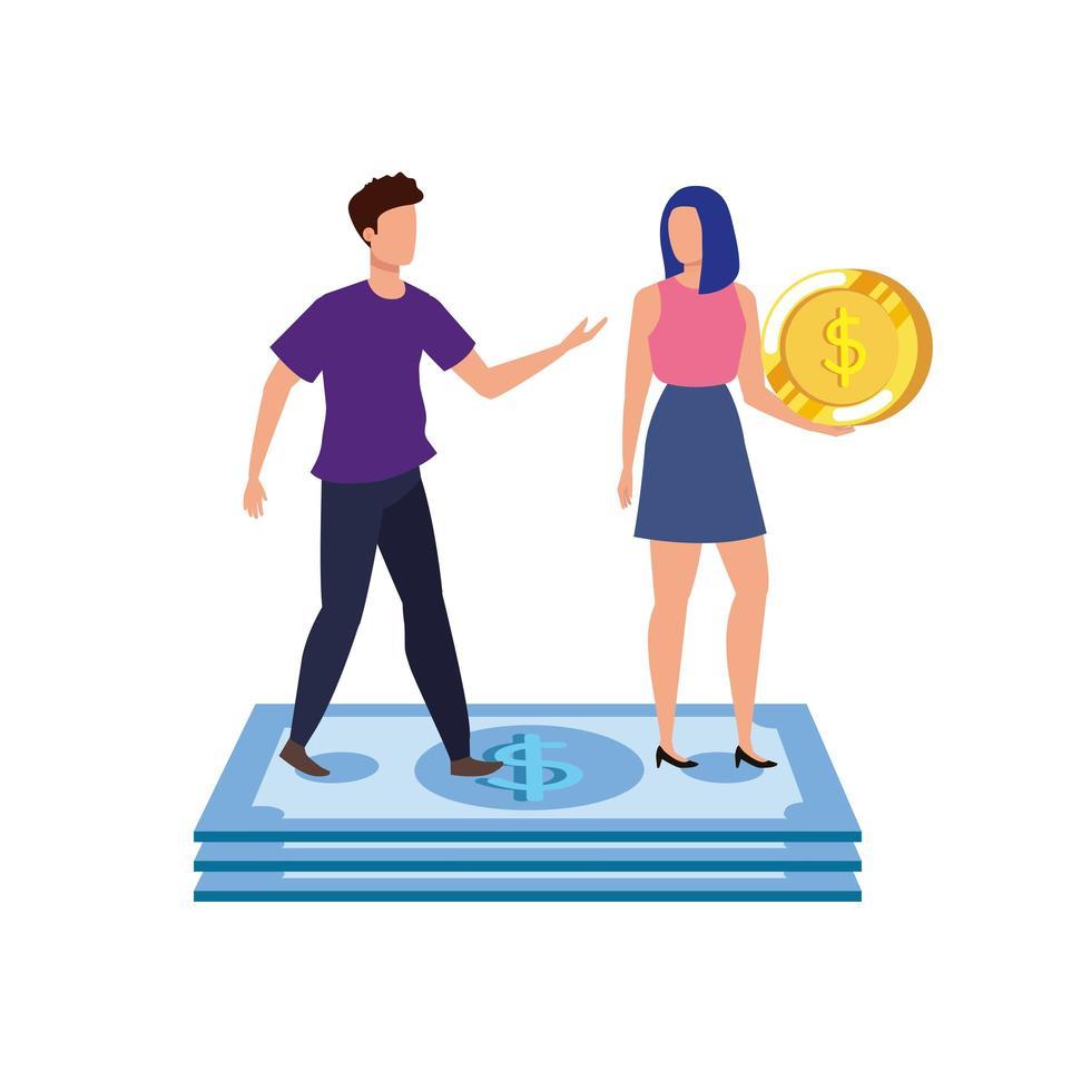giovane coppia con personaggi di monete e banconote vettore