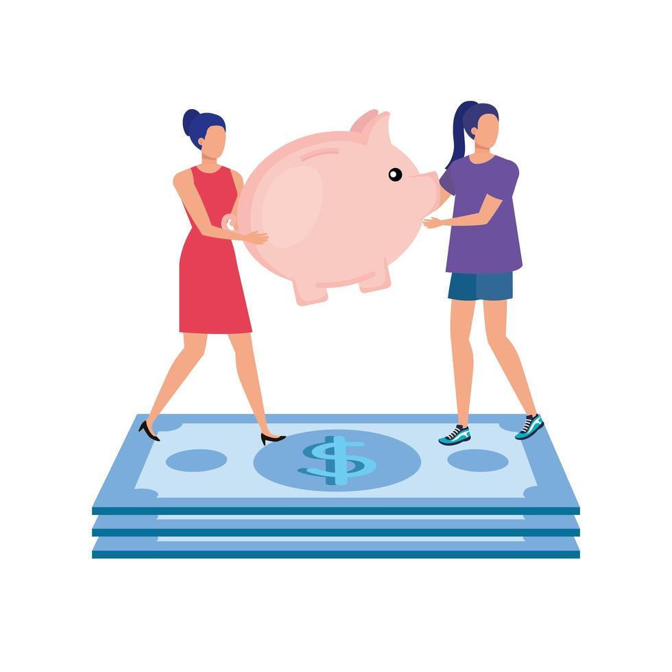 giovani donne con risparmi piggy e dollari vettore