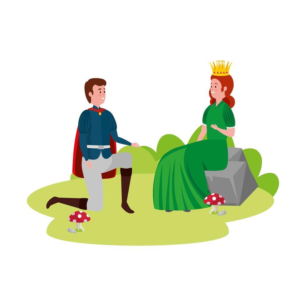 principe con la principessa delle fiabe vettore