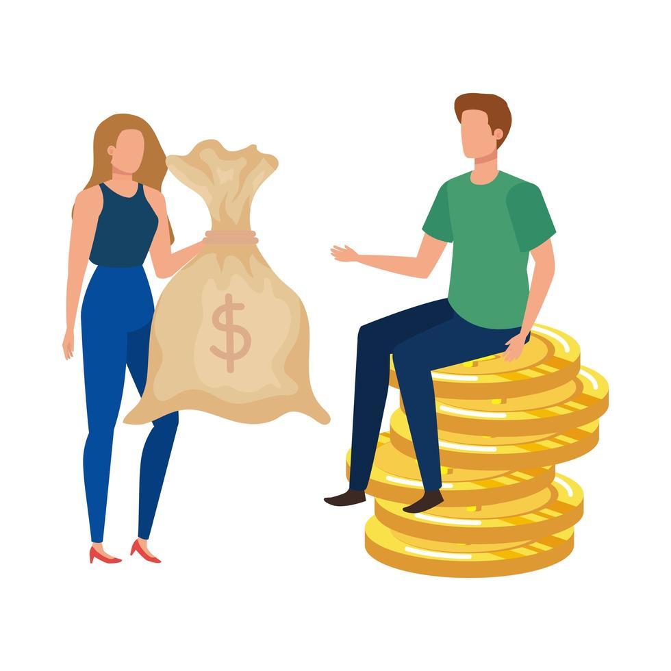 giovane coppia con monete e sacco di soldi vettore