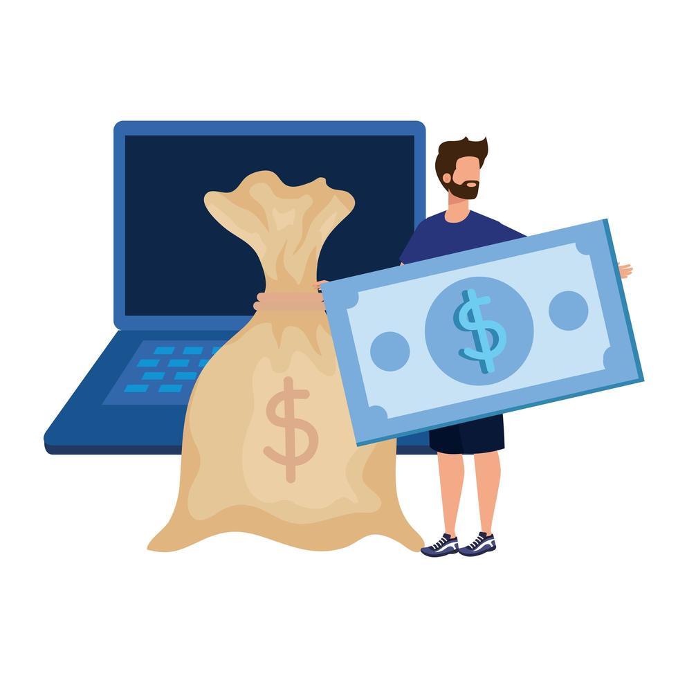 giovane con laptop e soldi vettore