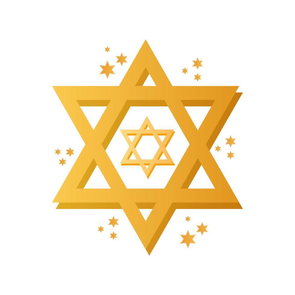 icona di celebrazione della stella ebraica di hanukkah vettore