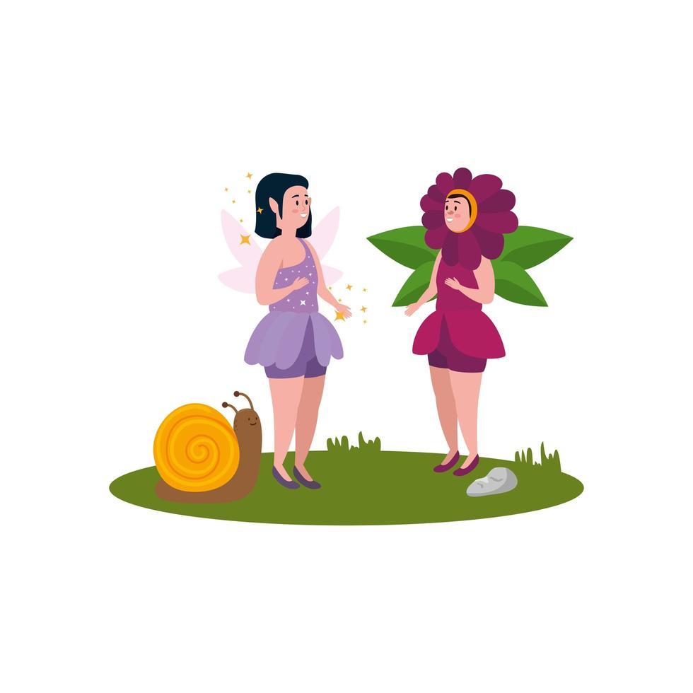 donna travestita da fiore con fata e lumaca vettore
