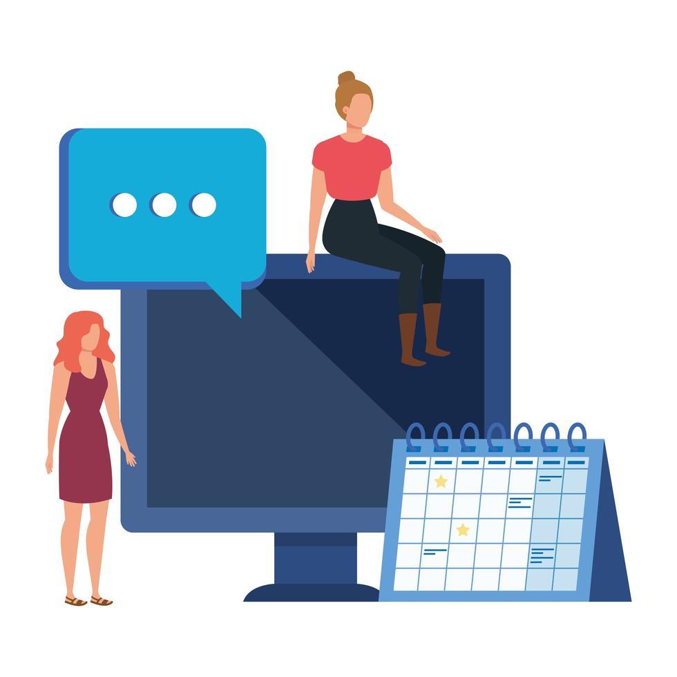 giovani donne con personaggi desktop vettore