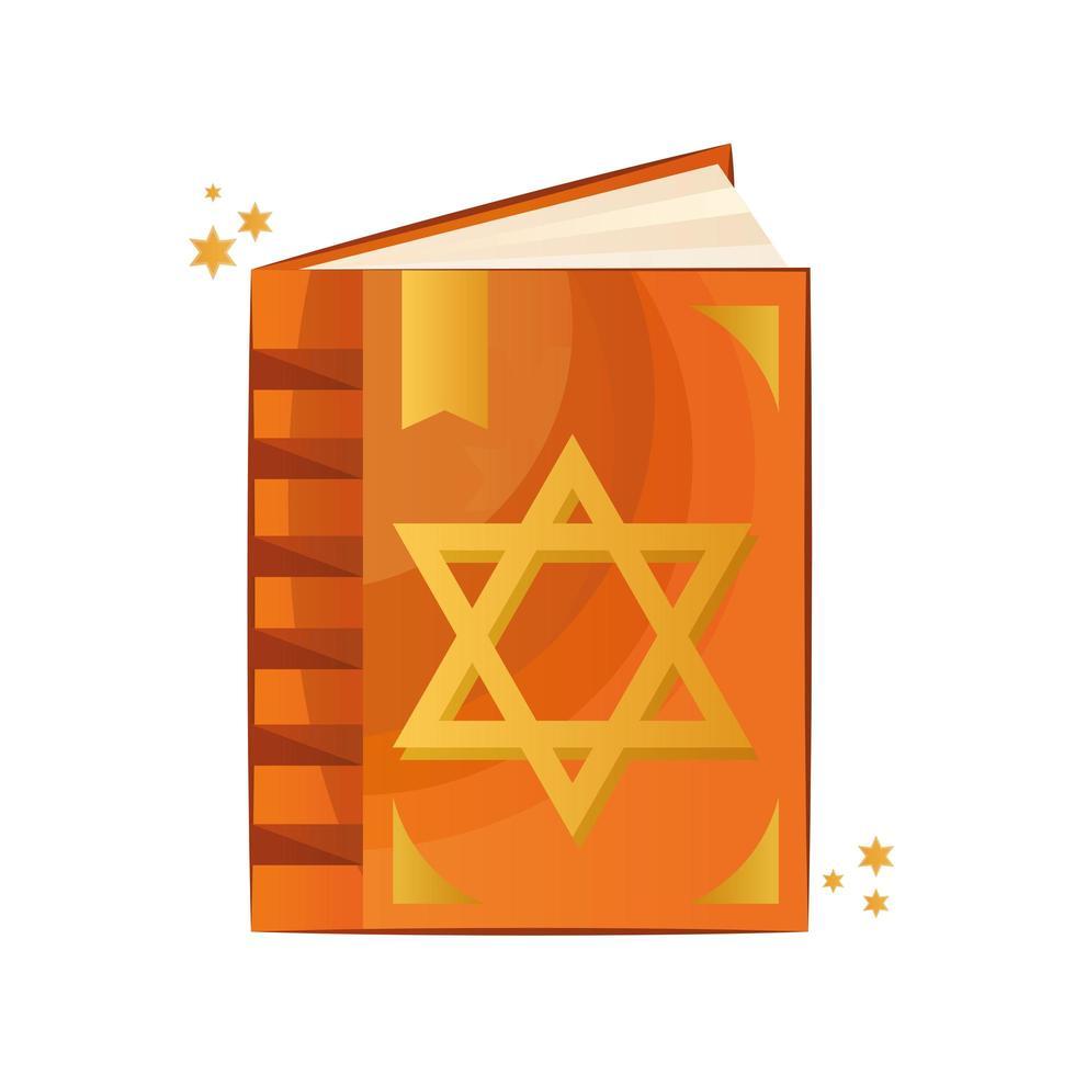 libro di hanukkah con icona tradizionale celebrazione stella ebraica vettore