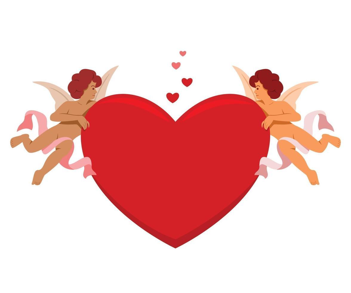 amorini tengono grande cuore per la decorazione di San Valentino. vettore
