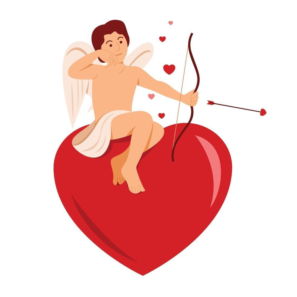 Cupido si siede sul grande cuore per la decorazione di San Valentino. vettore