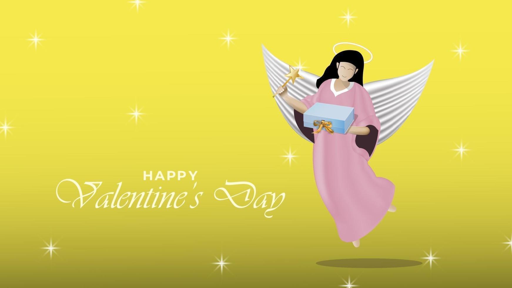 felice giorno di San Valentino sfondo con angelo realistico dando un regalo oggetti di design vettore