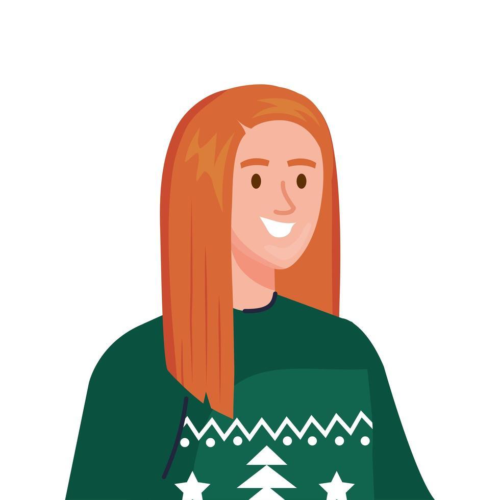 giovane donna che indossa il carattere di cappotto verde invernale vettore