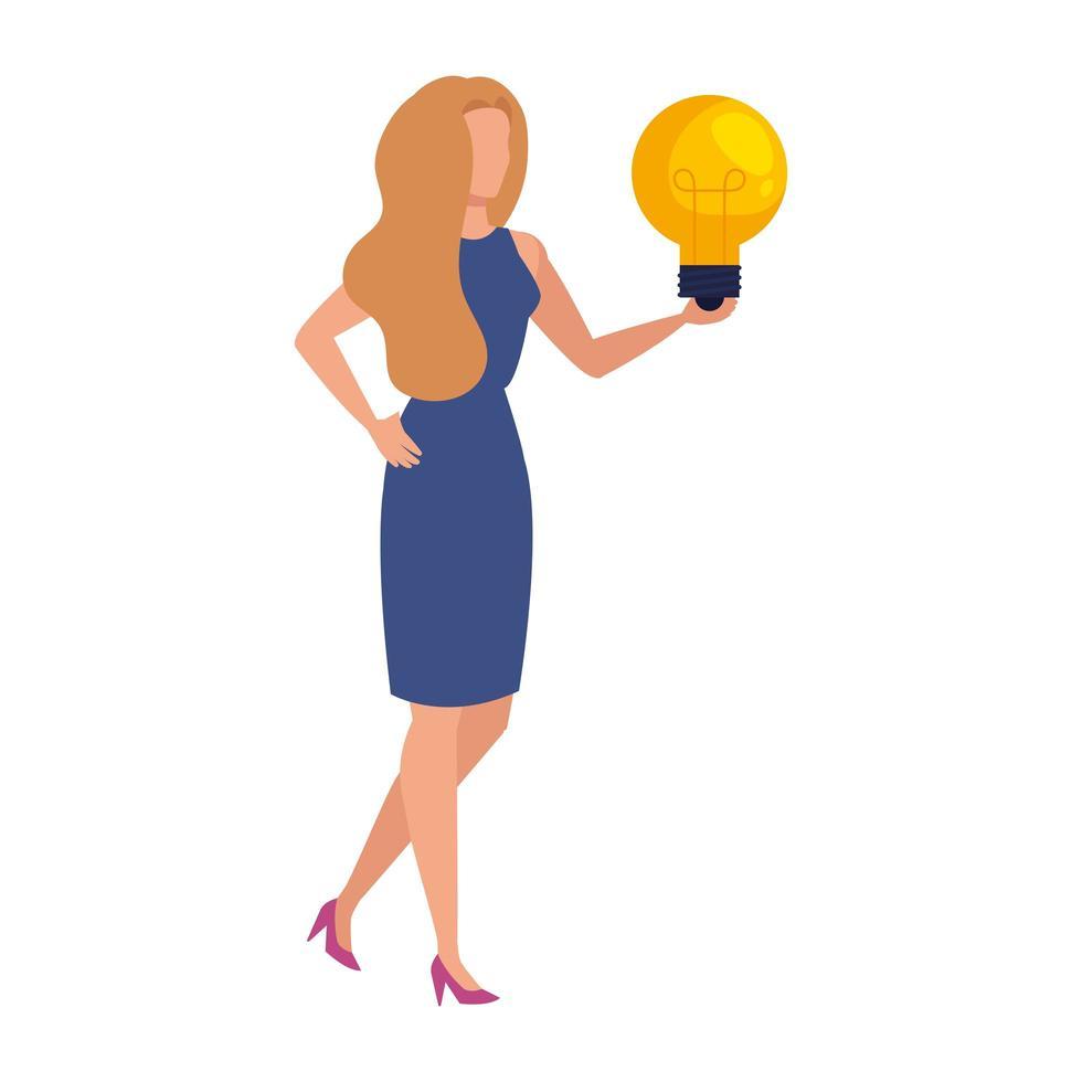 elegante donna d'affari con carattere lampadina vettore