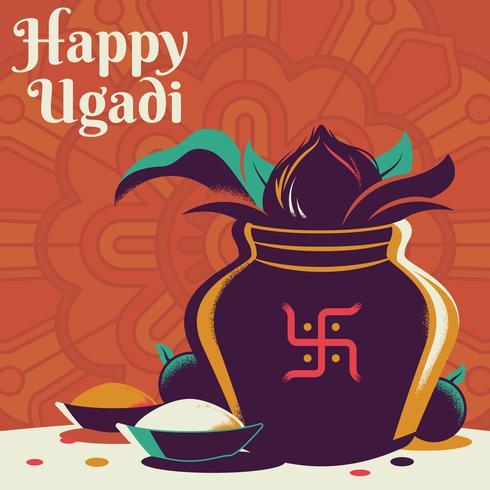 Pentola felice dell'oro di Ugadi con l'illustrazione della noce di cocco vettore