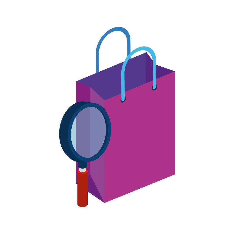 shopping bag di carta con lente di ingrandimento vettore