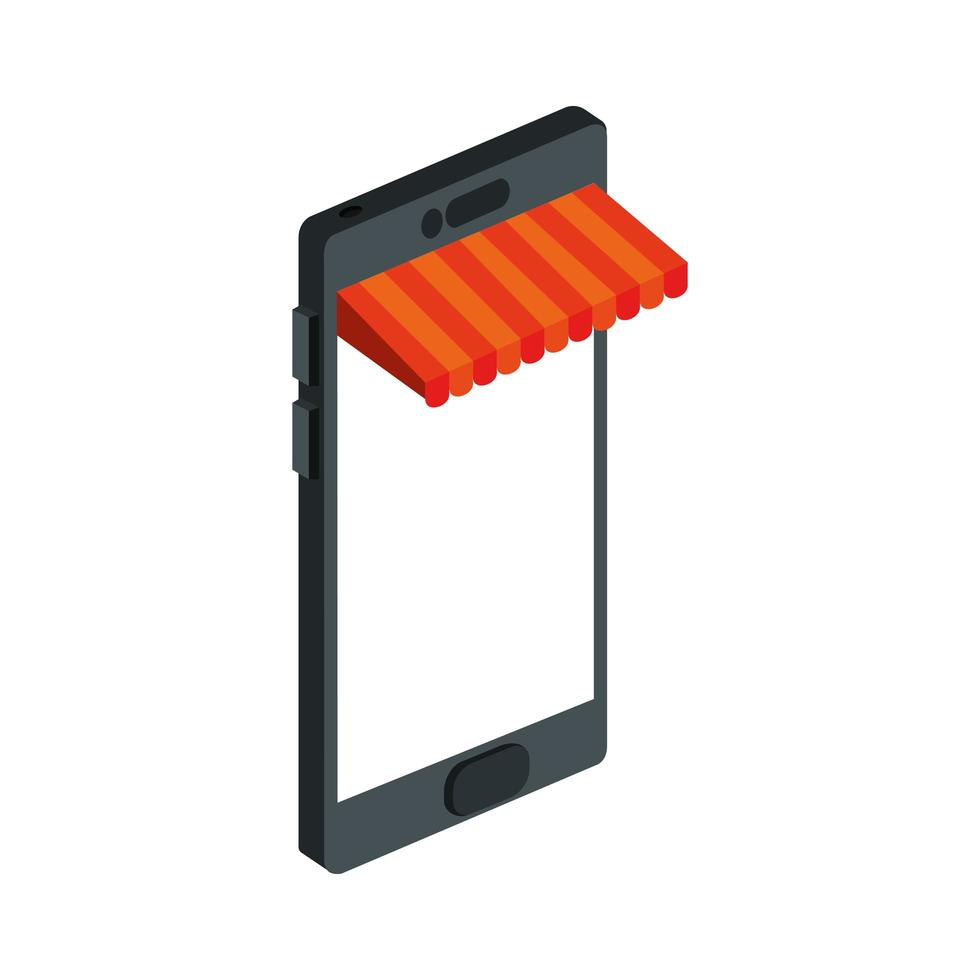 dispositivo smartphone con negozio di ombrelloni vettore