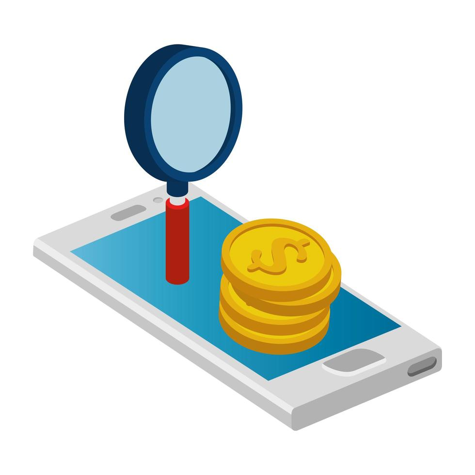 smartphone con pile di monete e lente di ingrandimento vettore