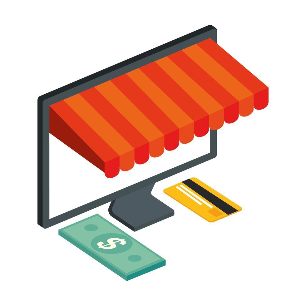 carta di credito e computer con ombrellone vettore