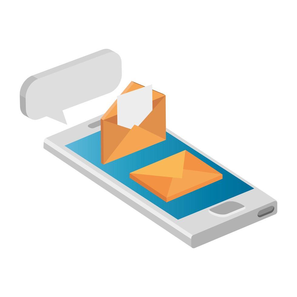 posta di buste con icona isolato smartphone vettore