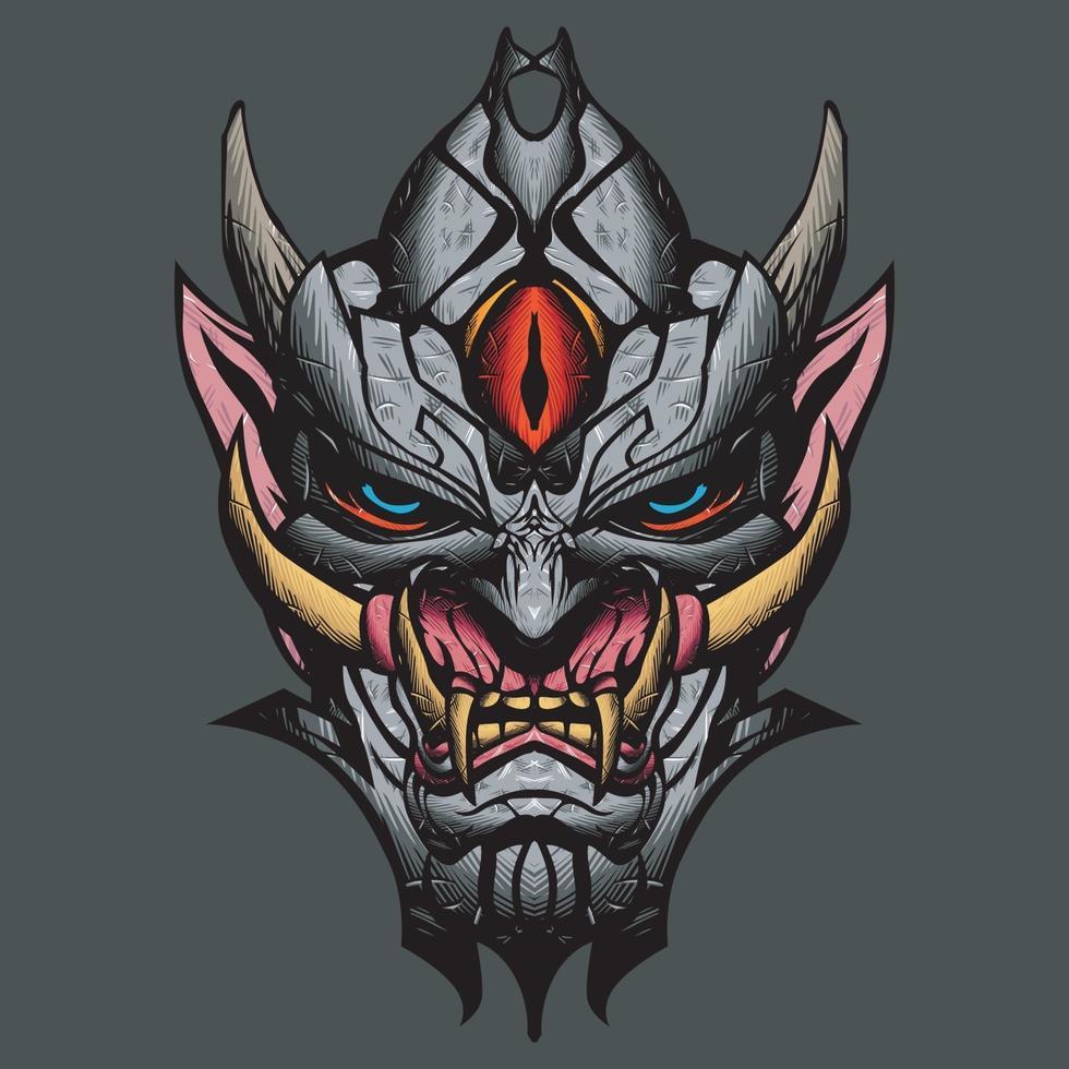 illustrazione della maschera di oni. vettore