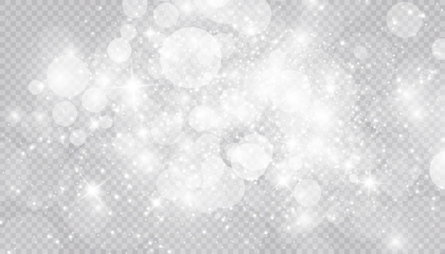 effetto luce incandescente con molte particelle glitter isolate vettore