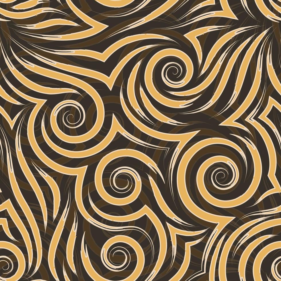 Vector seamless pattern di arancio e beige spirali di linee e angoli. consistenza liscia su uno sfondo marrone.