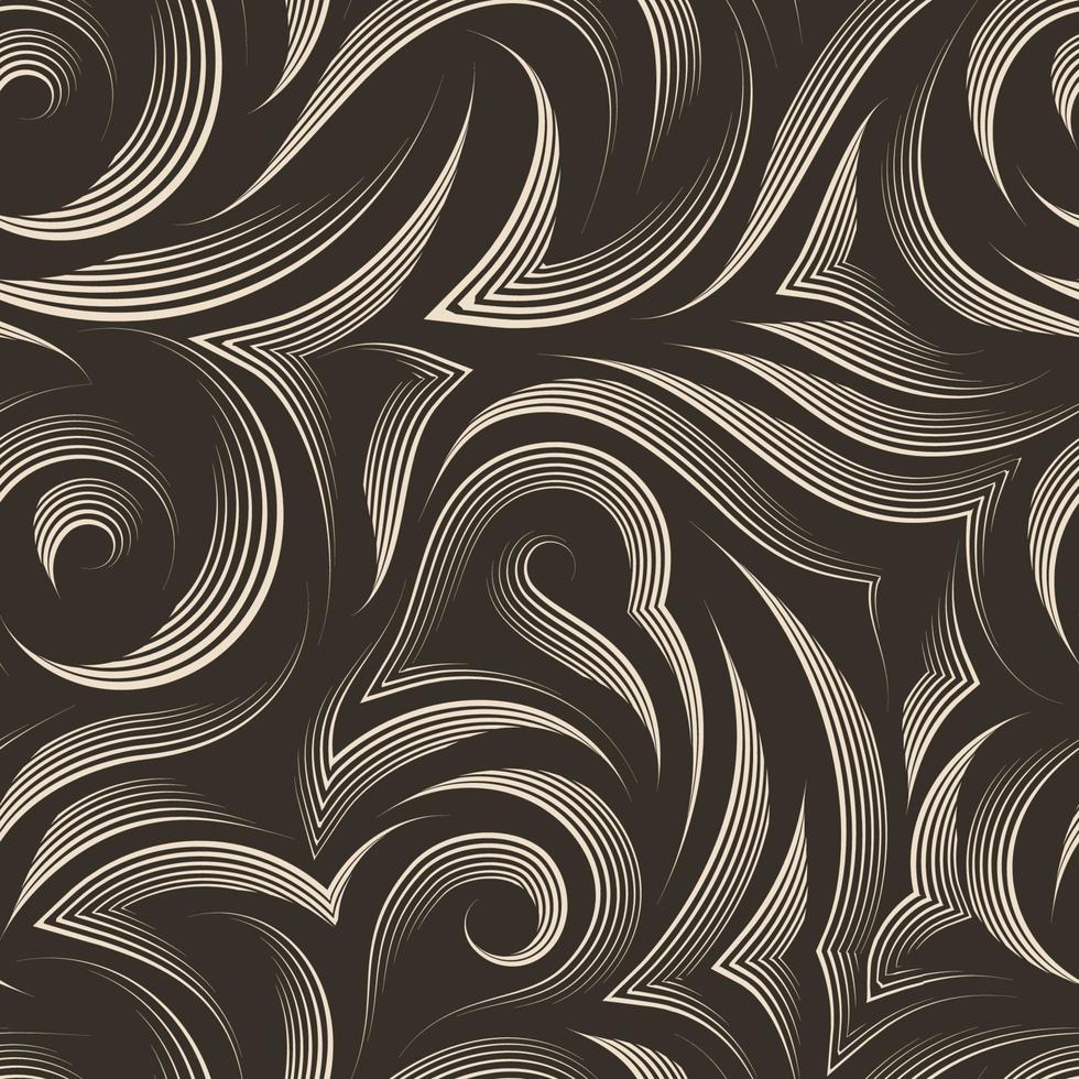 Vector seamless pattern di linee lisce e spezzate disegnate da una penna beige con tagli nel mezzo con estremità appuntite su uno sfondo marrone isolato. trama color pastello da strisce fluenti