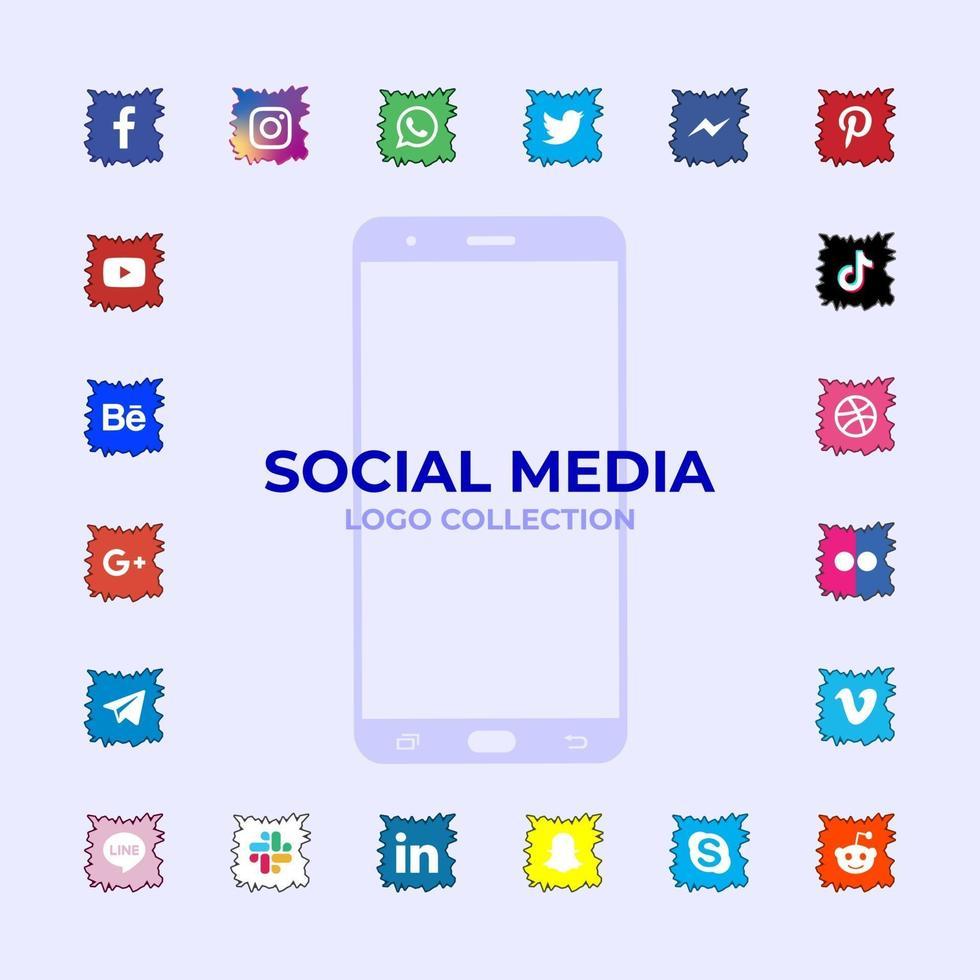 raccolta di logotipi di social media vettore