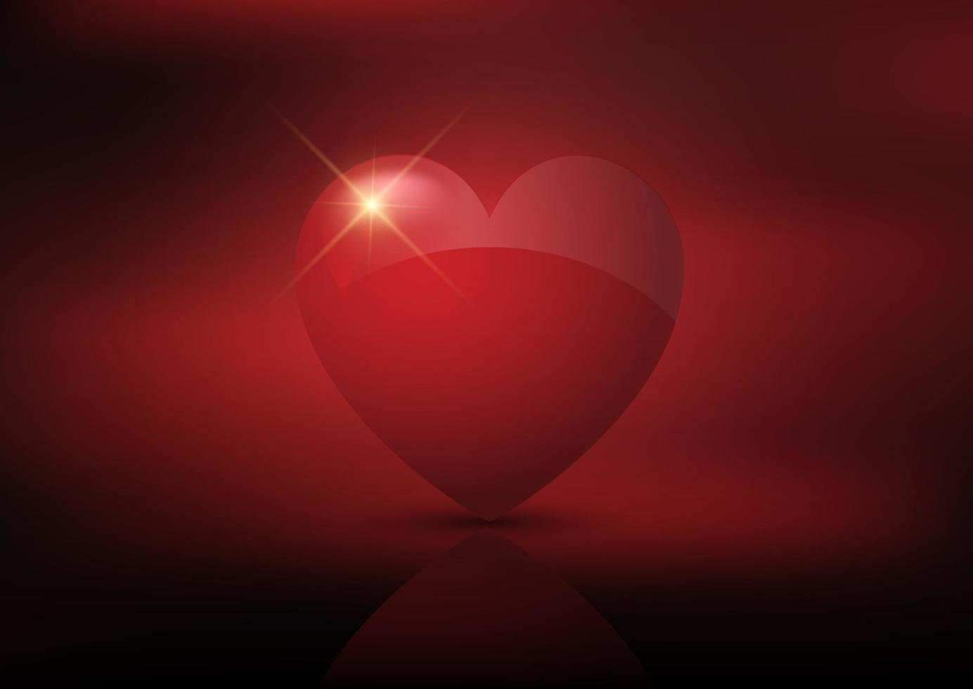 sfondo di San Valentino con cuore rosso lucido vettore