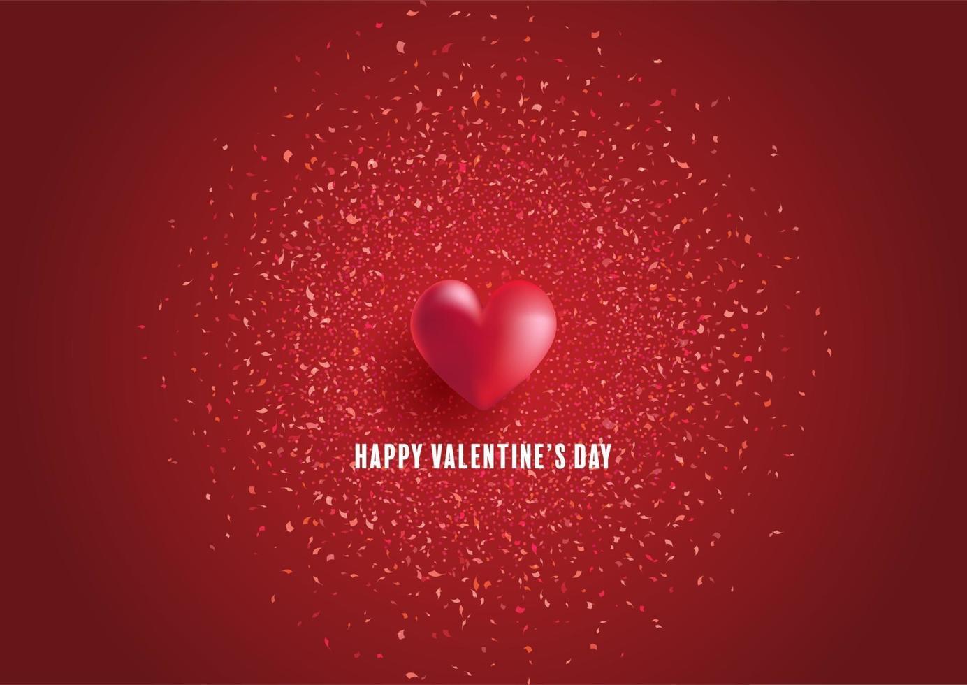 sfondo di San Valentino con cuore e coriandoli vettore