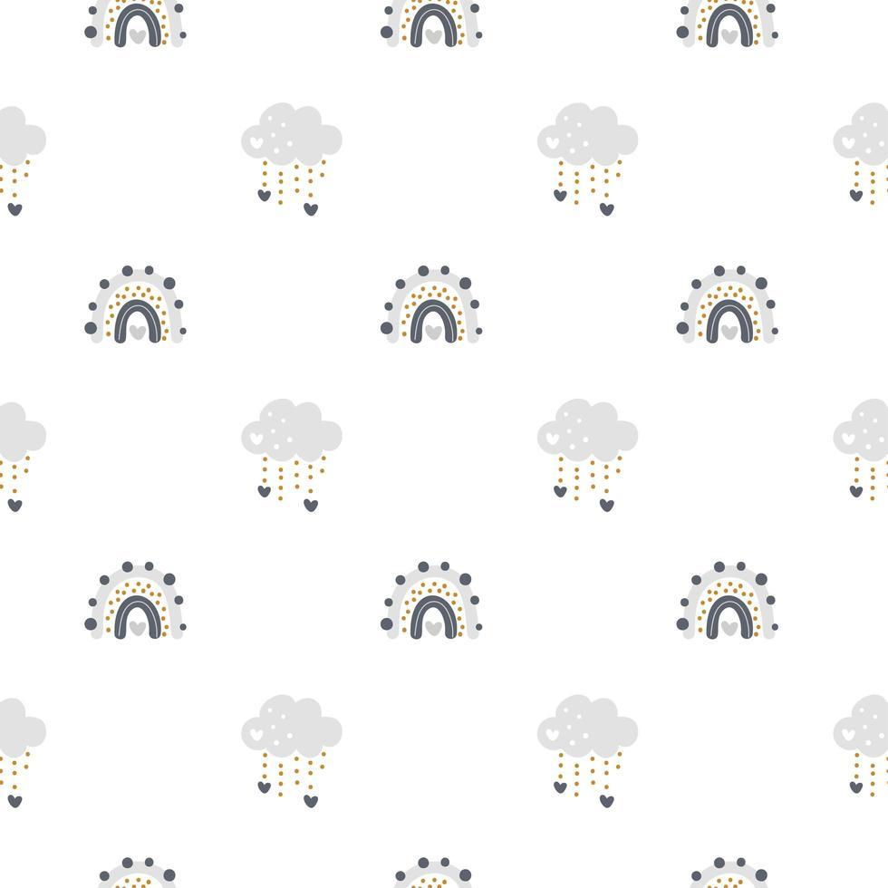 arcobaleno carino vettoriale con nuvole seamless pattern in stile scandinavo isolato su sfondo bianco per i bambini. illustrazione di cartone animato disegnato a mano per poster nordici, stampe, cartoline, tessuti, libri per bambini