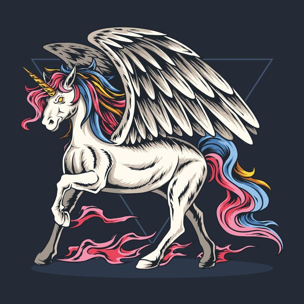 unicorno volante con capelli colorati e sembra bello vettore